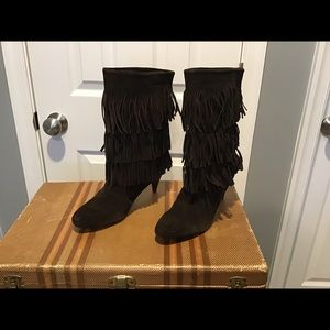 Chinese Laundry Brown Fringe Boots